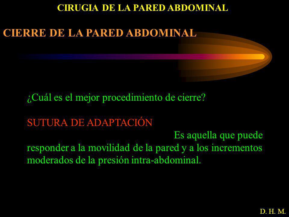CIRUGIA DE LA PARED ABDOMINAL D. H. M. CIERRE DE LA PARED ABDOMINAL ¿Cuál es el mejor procedimiento de cierre? SUTURA DE ADAPTACIÓN Es aquella que pue