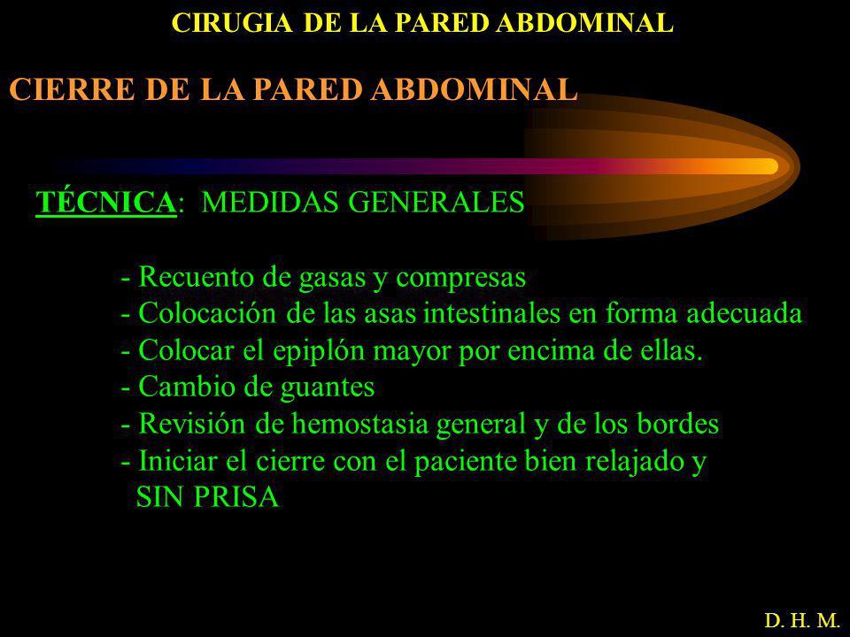 CIRUGIA DE LA PARED ABDOMINAL D. H. M. CIERRE DE LA PARED ABDOMINAL TÉCNICA: MEDIDAS GENERALES - Recuento de gasas y compresas - Colocación de las asa