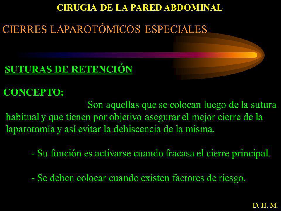 CIRUGIA DE LA PARED ABDOMINAL D. H. M. CIERRES LAPAROTÓMICOS ESPECIALES SUTURAS DE RETENCIÓN CONCEPTO: Son aquellas que se colocan luego de la sutura