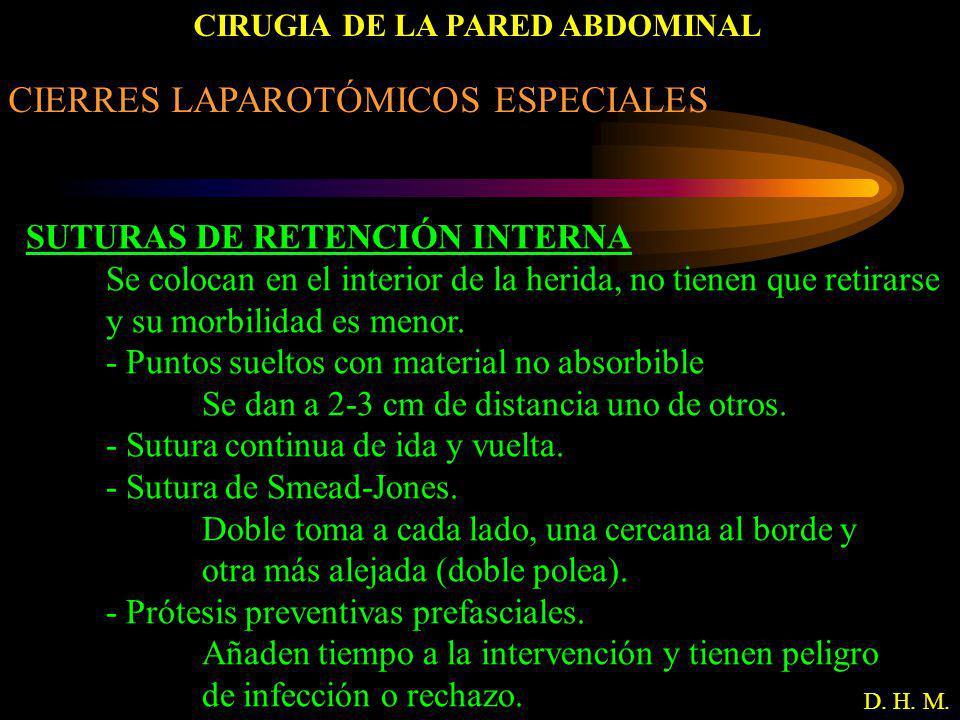 CIRUGIA DE LA PARED ABDOMINAL D. H. M. CIERRES LAPAROTÓMICOS ESPECIALES SUTURAS DE RETENCIÓN INTERNA Se colocan en el interior de la herida, no tienen