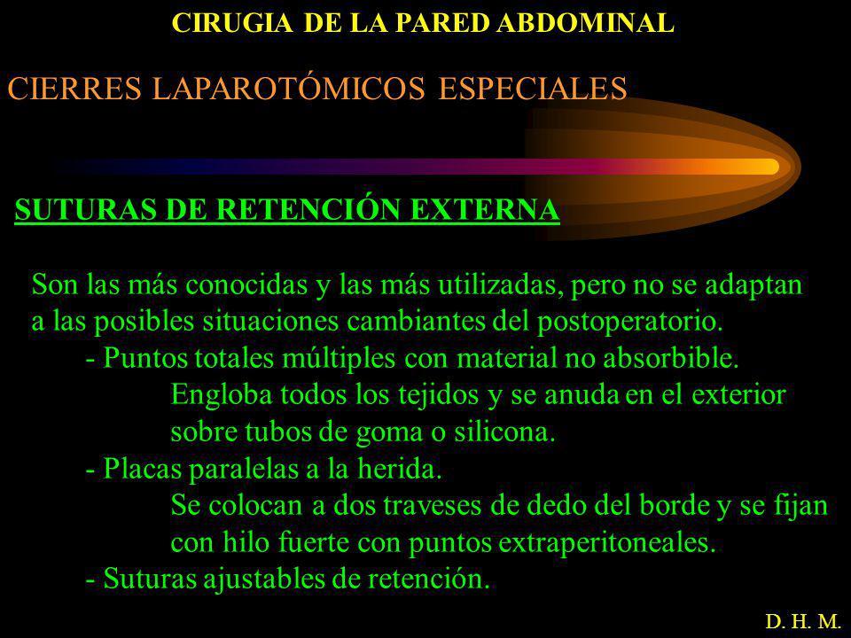 CIRUGIA DE LA PARED ABDOMINAL D. H. M. CIERRES LAPAROTÓMICOS ESPECIALES SUTURAS DE RETENCIÓN EXTERNA Son las más conocidas y las más utilizadas, pero