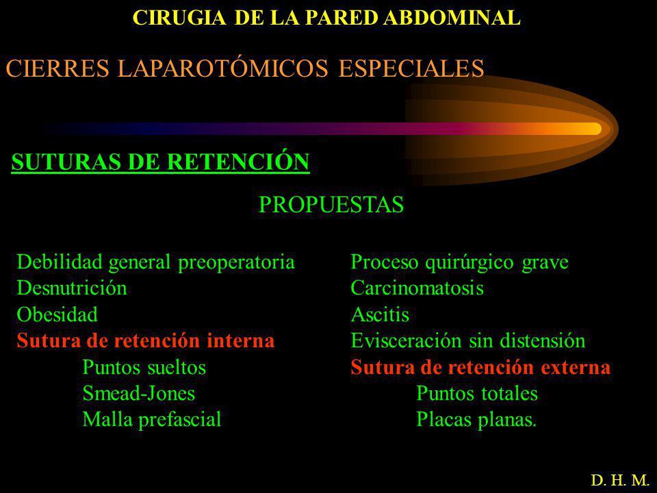 CIRUGIA DE LA PARED ABDOMINAL D. H. M. CIERRES LAPAROTÓMICOS ESPECIALES SUTURAS DE RETENCIÓN PROPUESTAS Debilidad general preoperatoria Desnutrición O