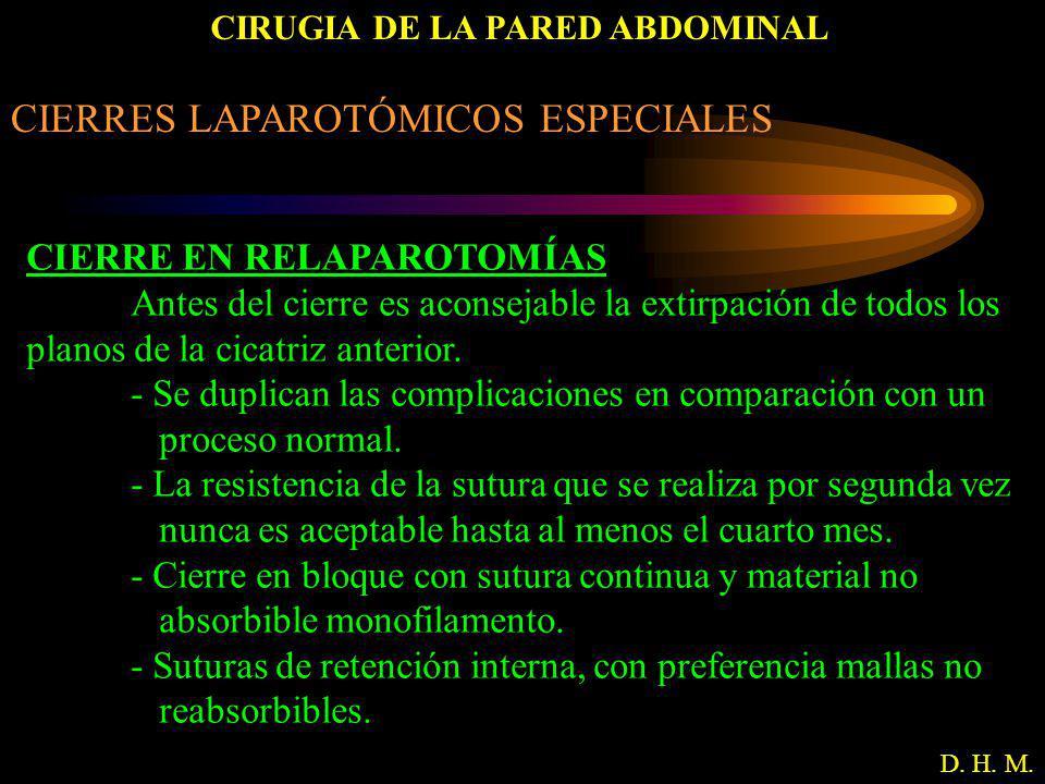 CIRUGIA DE LA PARED ABDOMINAL D. H. M. CIERRES LAPAROTÓMICOS ESPECIALES CIERRE EN RELAPAROTOMÍAS Antes del cierre es aconsejable la extirpación de tod