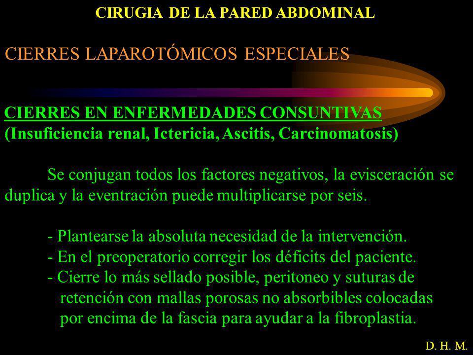 CIRUGIA DE LA PARED ABDOMINAL D. H. M. CIERRES LAPAROTÓMICOS ESPECIALES CIERRES EN ENFERMEDADES CONSUNTIVAS (Insuficiencia renal, Ictericia, Ascitis,
