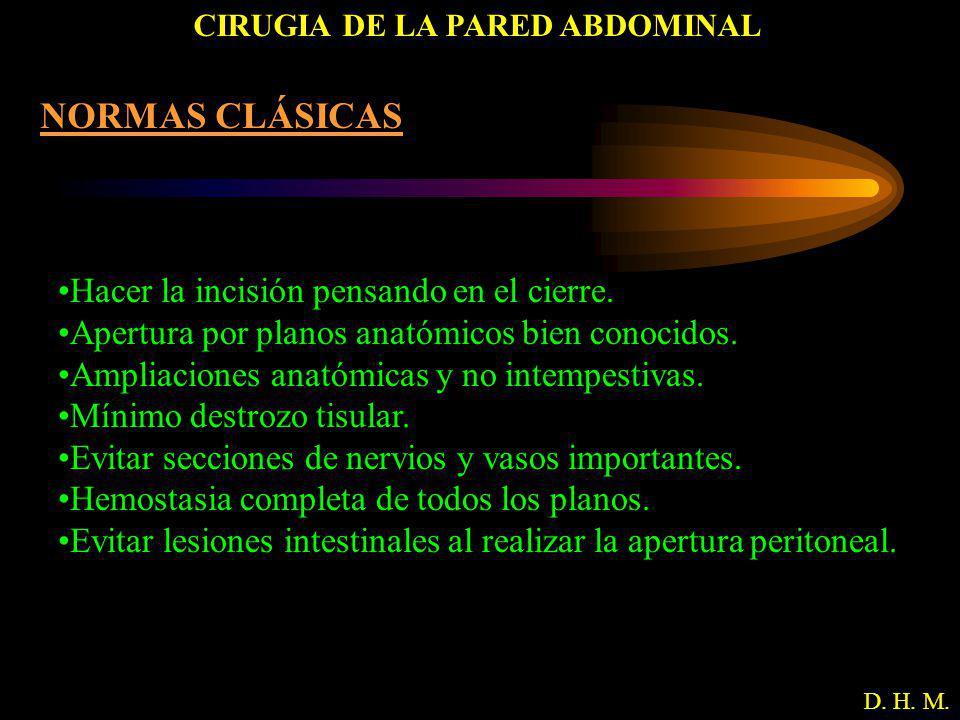 CIRUGIA DE LA PARED ABDOMINAL D. H. M. NORMAS CLÁSICAS Hacer la incisión pensando en el cierre. Apertura por planos anatómicos bien conocidos. Ampliac
