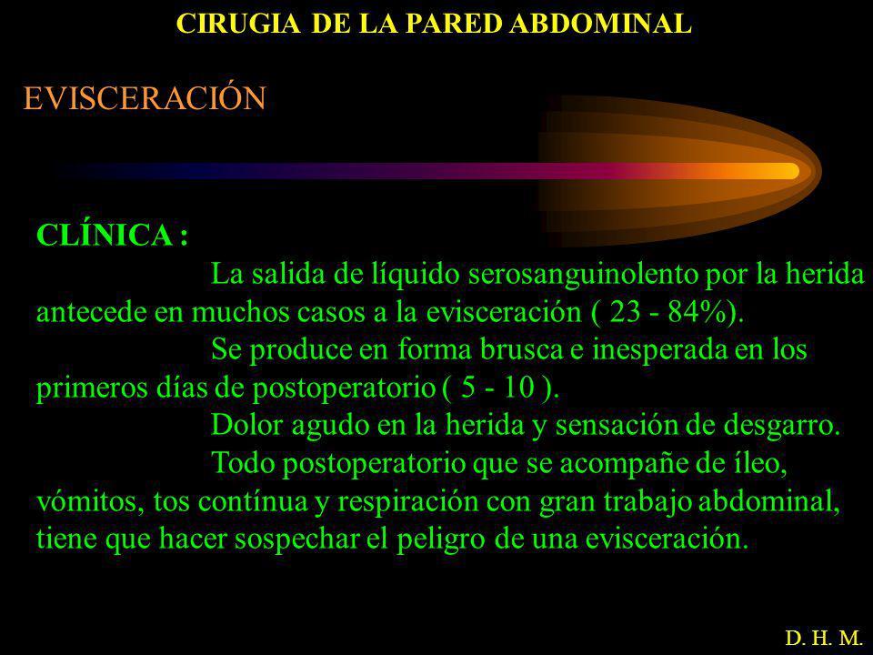 CIRUGIA DE LA PARED ABDOMINAL D. H. M. EVISCERACIÓN CLÍNICA : La salida de líquido serosanguinolento por la herida antecede en muchos casos a la evisc