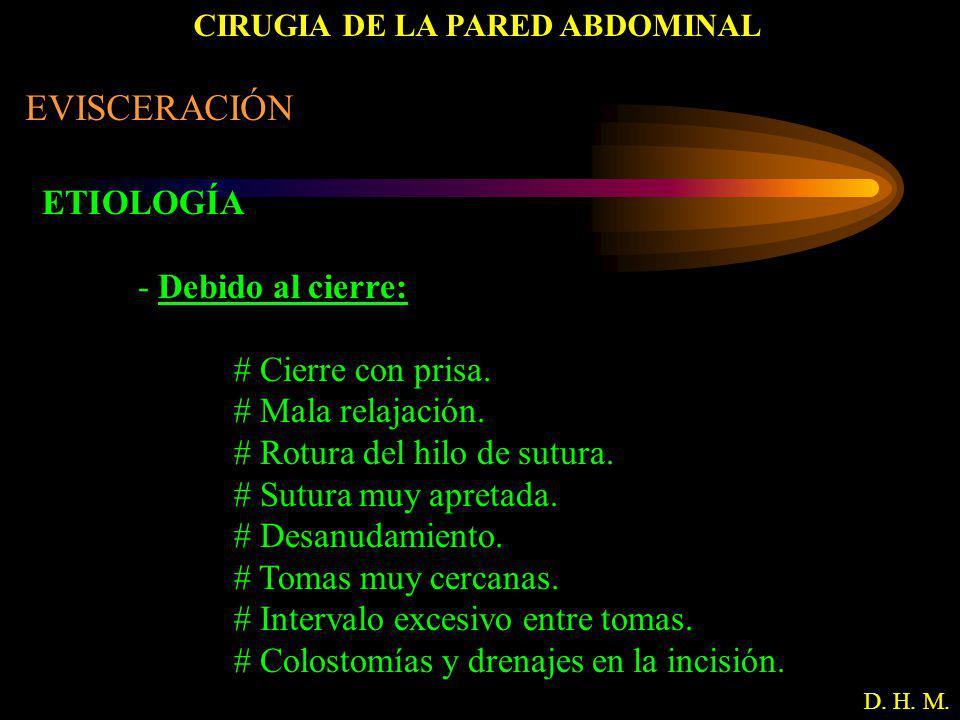 CIRUGIA DE LA PARED ABDOMINAL D. H. M. EVISCERACIÓN ETIOLOGÍA - Debido al cierre: # Cierre con prisa. # Mala relajación. # Rotura del hilo de sutura.