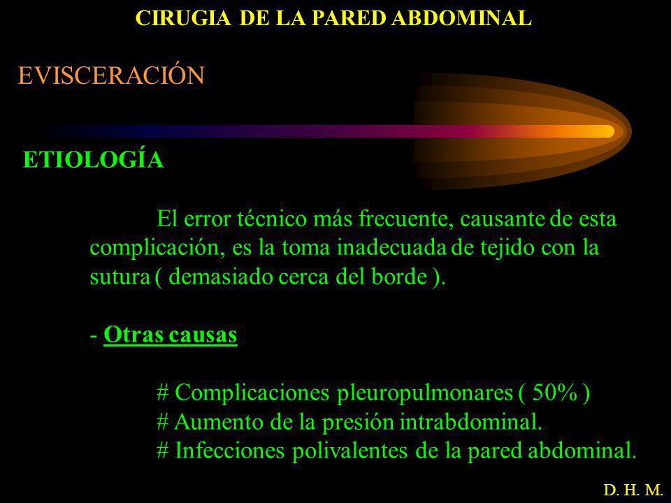 CIRUGIA DE LA PARED ABDOMINAL D. H. M. EVISCERACIÓN ETIOLOGÍA El error técnico más frecuente, causante de esta complicación, es la toma inadecuada de