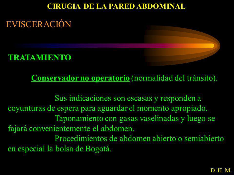 CIRUGIA DE LA PARED ABDOMINAL D. H. M. EVISCERACIÓN TRATAMIENTO Conservador no operatorio (normalidad del tránsito). Sus indicaciones son escasas y re