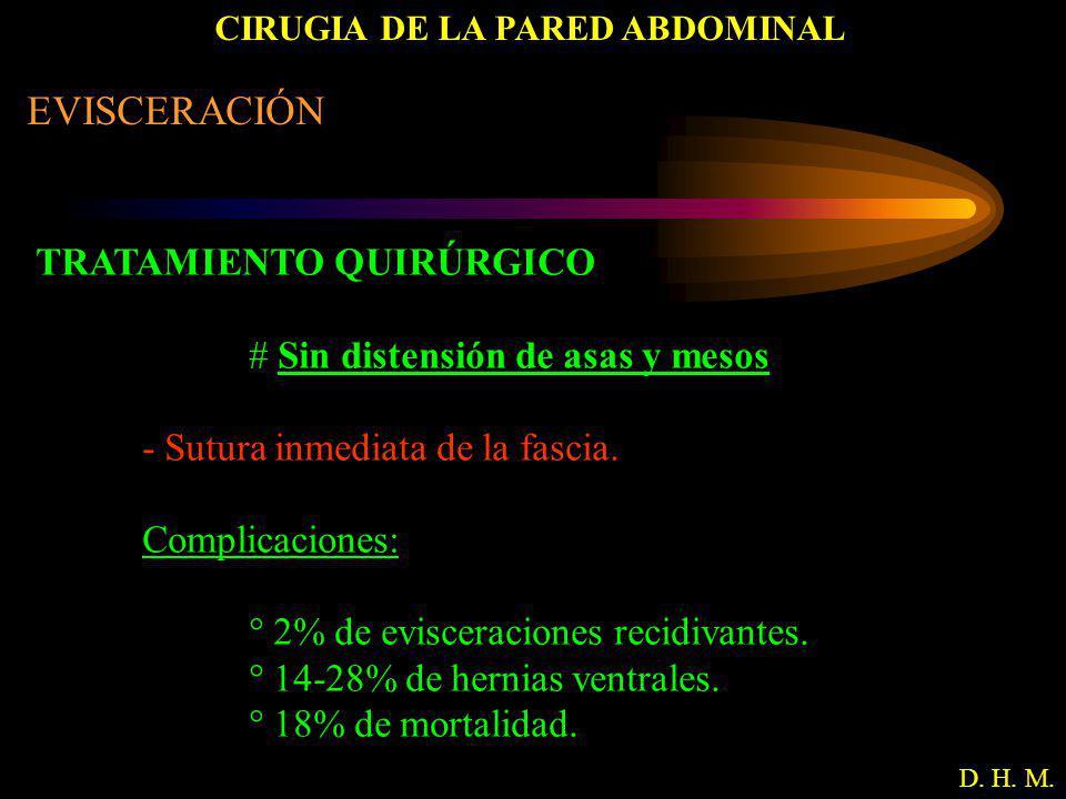 CIRUGIA DE LA PARED ABDOMINAL D. H. M. EVISCERACIÓN TRATAMIENTO QUIRÚRGICO # Sin distensión de asas y mesos - Sutura inmediata de la fascia. Complicac