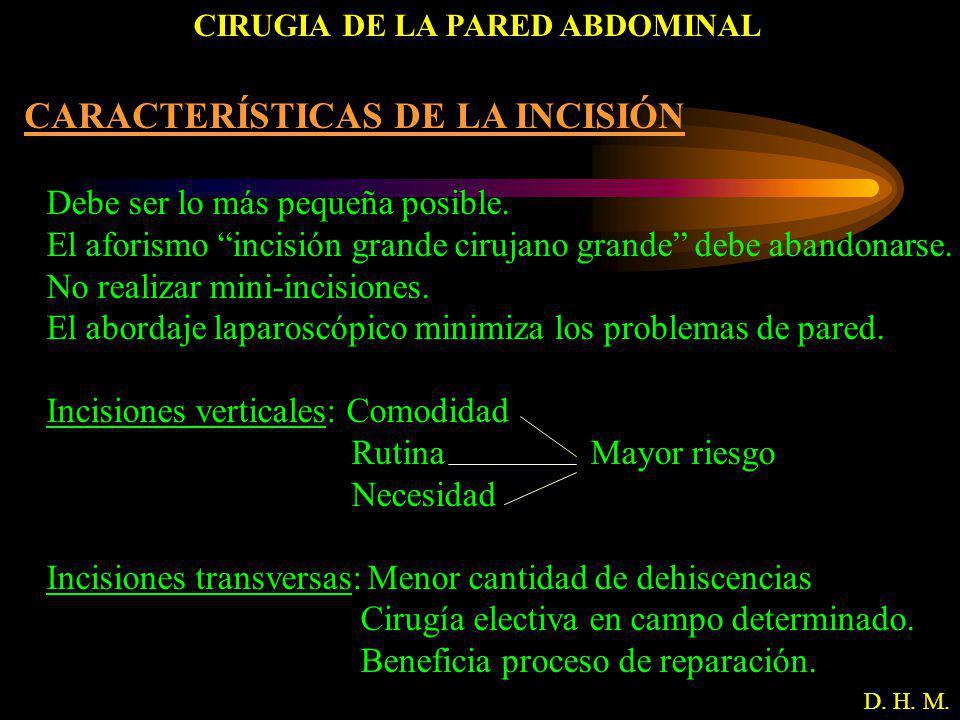 CIRUGIA DE LA PARED ABDOMINAL D. H. M. CARACTERÍSTICAS DE LA INCISIÓN Debe ser lo más pequeña posible. El aforismo incisión grande cirujano grande deb