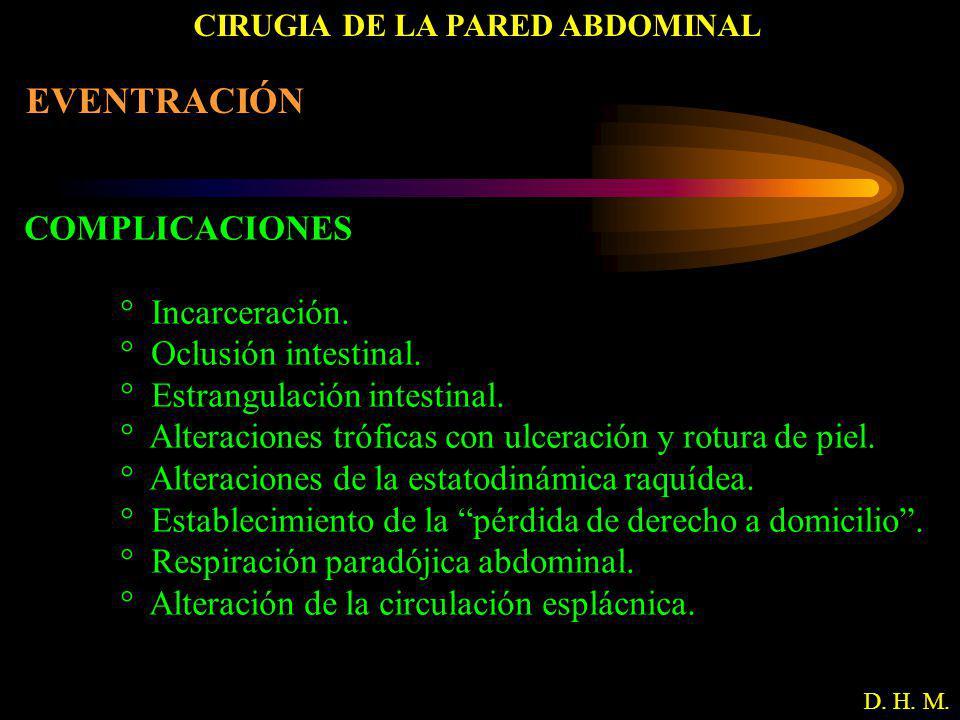 CIRUGIA DE LA PARED ABDOMINAL D. H. M. EVENTRACIÓN COMPLICACIONES ° Incarceración. ° Oclusión intestinal. ° Estrangulación intestinal. ° Alteraciones