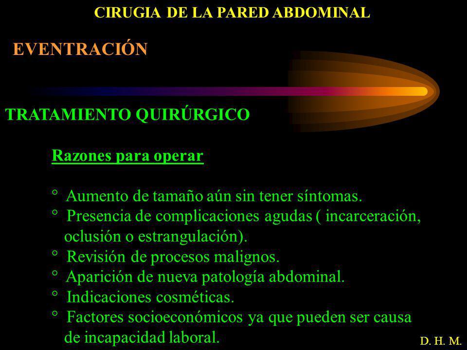 CIRUGIA DE LA PARED ABDOMINAL D. H. M. EVENTRACIÓN TRATAMIENTO QUIRÚRGICO Razones para operar ° Aumento de tamaño aún sin tener síntomas. ° Presencia