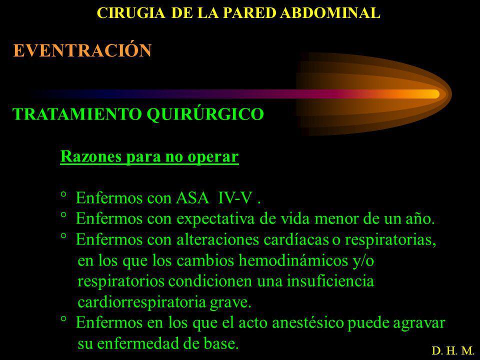 CIRUGIA DE LA PARED ABDOMINAL D. H. M. EVENTRACIÓN TRATAMIENTO QUIRÚRGICO Razones para no operar ° Enfermos con ASA IV-V. ° Enfermos con expectativa d