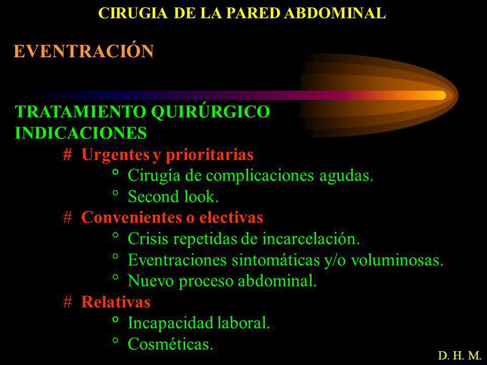 CIRUGIA DE LA PARED ABDOMINAL D. H. M. EVENTRACIÓN TRATAMIENTO QUIRÚRGICO INDICACIONES # Urgentes y prioritarias ° Cirugía de complicaciones agudas. °