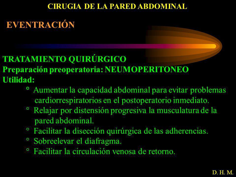 CIRUGIA DE LA PARED ABDOMINAL D. H. M. EVENTRACIÓN TRATAMIENTO QUIRÚRGICO Preparación preoperatoria: NEUMOPERITONEO Utilidad: ° Aumentar la capacidad