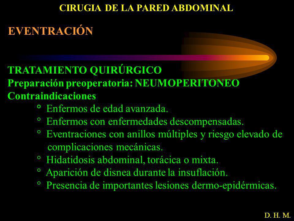 CIRUGIA DE LA PARED ABDOMINAL D. H. M. EVENTRACIÓN TRATAMIENTO QUIRÚRGICO Preparación preoperatoria: NEUMOPERITONEO Contraindicaciones ° Enfermos de e