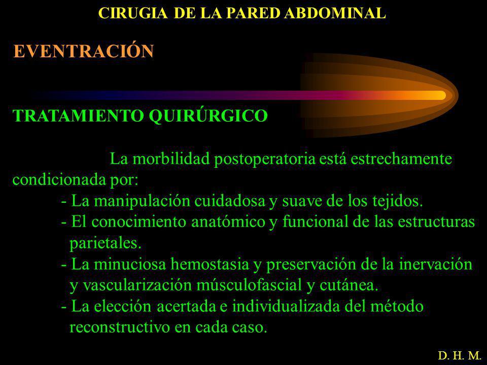 CIRUGIA DE LA PARED ABDOMINAL D. H. M. EVENTRACIÓN TRATAMIENTO QUIRÚRGICO La morbilidad postoperatoria está estrechamente condicionada por: - La manip