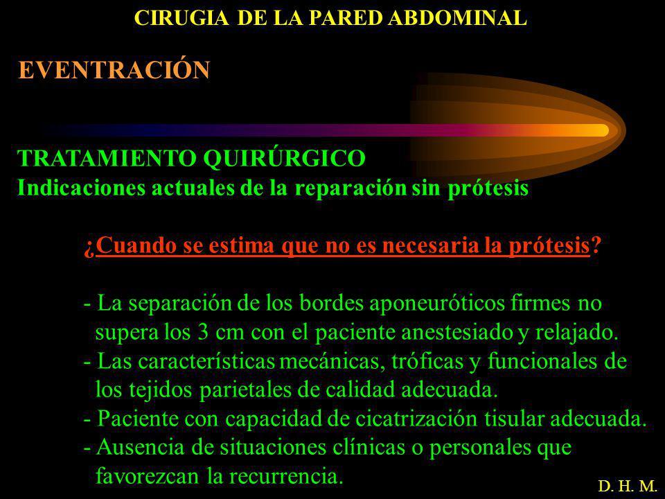 CIRUGIA DE LA PARED ABDOMINAL D. H. M. EVENTRACIÓN TRATAMIENTO QUIRÚRGICO Indicaciones actuales de la reparación sin prótesis ¿Cuando se estima que no