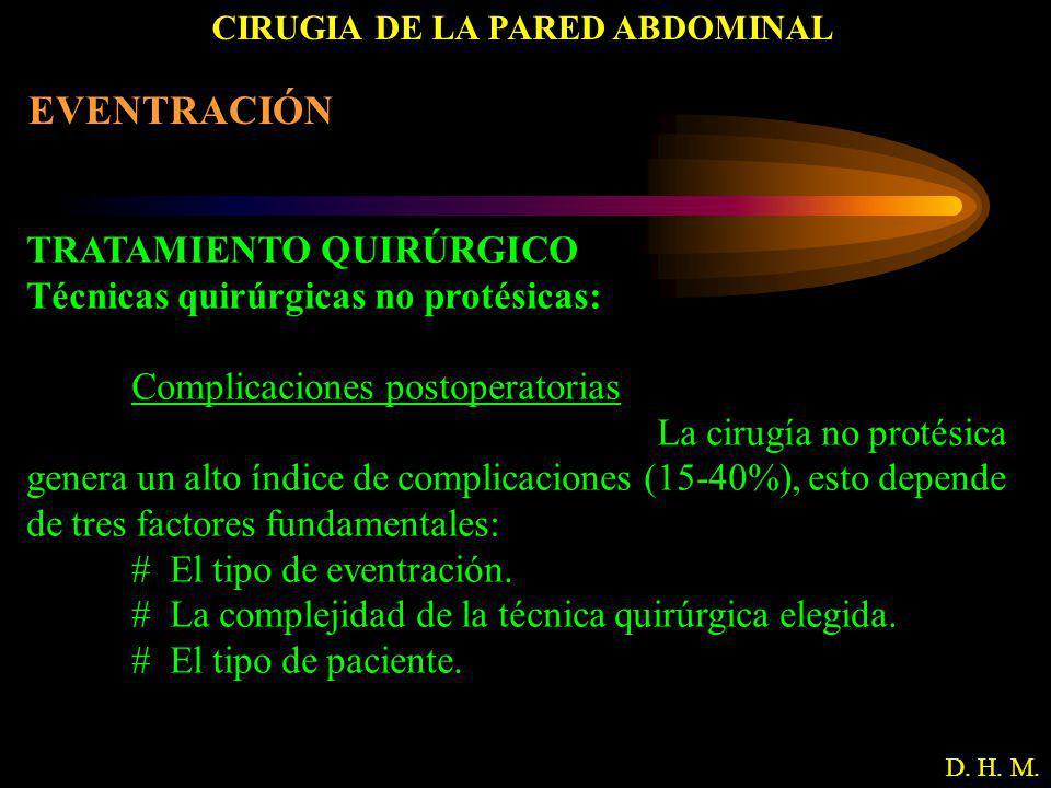 CIRUGIA DE LA PARED ABDOMINAL D. H. M. EVENTRACIÓN TRATAMIENTO QUIRÚRGICO Técnicas quirúrgicas no protésicas: Complicaciones postoperatorias La cirugí