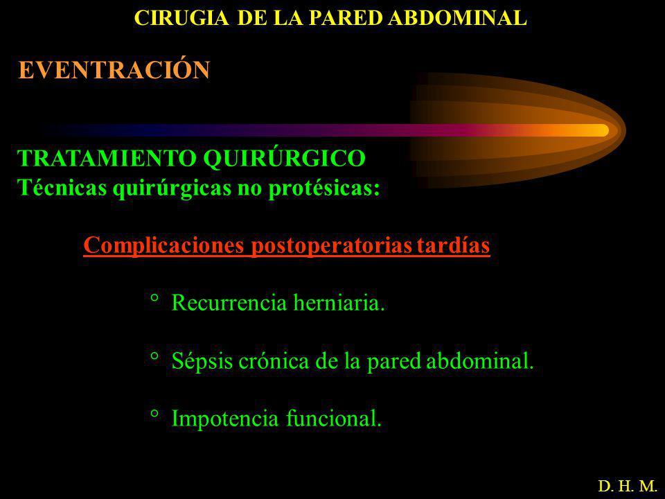 CIRUGIA DE LA PARED ABDOMINAL D. H. M. EVENTRACIÓN TRATAMIENTO QUIRÚRGICO Técnicas quirúrgicas no protésicas: Complicaciones postoperatorias tardías °