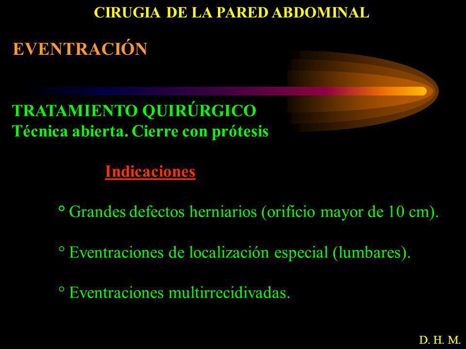 CIRUGIA DE LA PARED ABDOMINAL D. H. M. EVENTRACIÓN TRATAMIENTO QUIRÚRGICO Técnica abierta. Cierre con prótesis Indicaciones ° Grandes defectos herniar