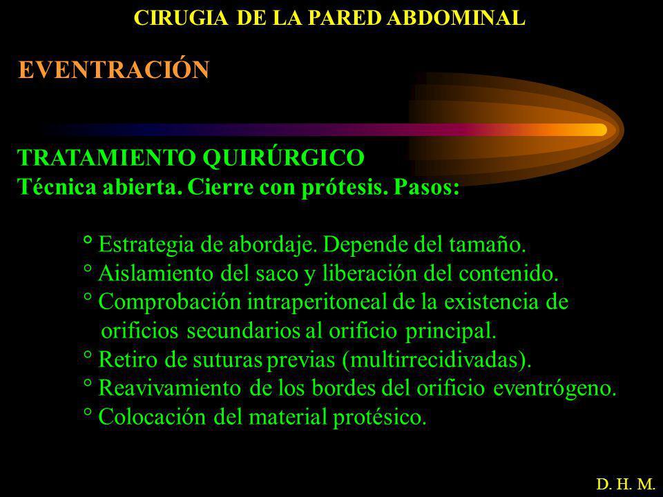 CIRUGIA DE LA PARED ABDOMINAL D. H. M. EVENTRACIÓN TRATAMIENTO QUIRÚRGICO Técnica abierta. Cierre con prótesis. Pasos: ° Estrategia de abordaje. Depen
