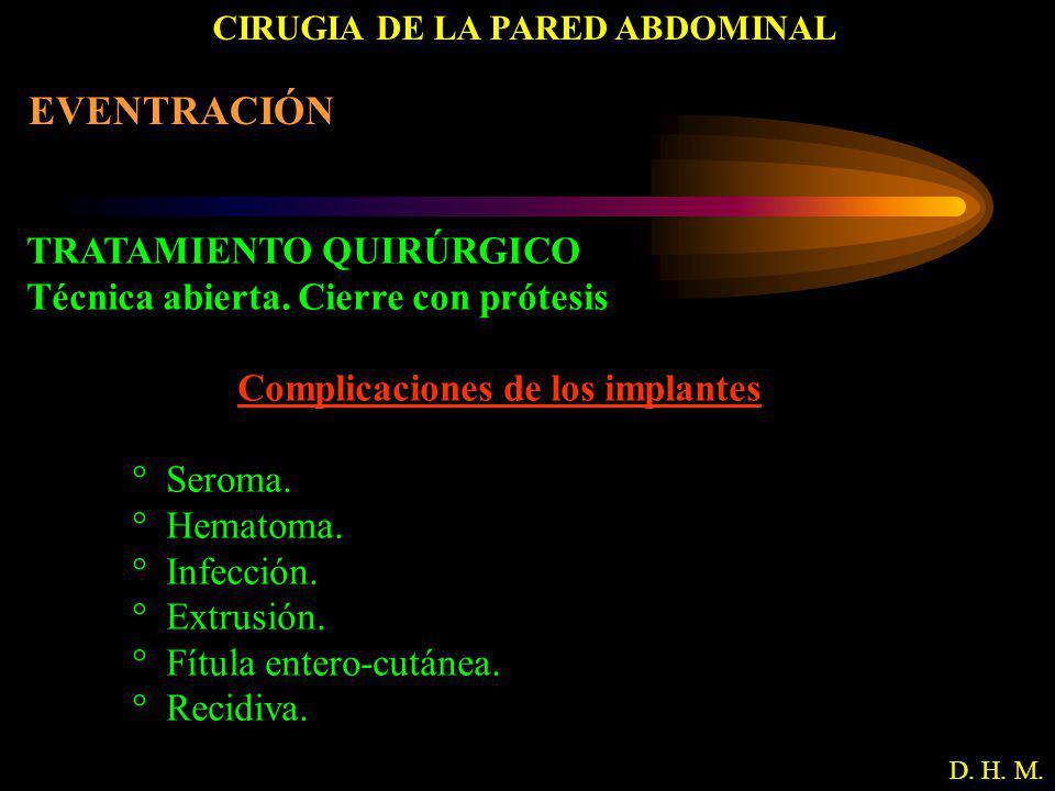 CIRUGIA DE LA PARED ABDOMINAL D. H. M. EVENTRACIÓN TRATAMIENTO QUIRÚRGICO Técnica abierta. Cierre con prótesis Complicaciones de los implantes ° Serom