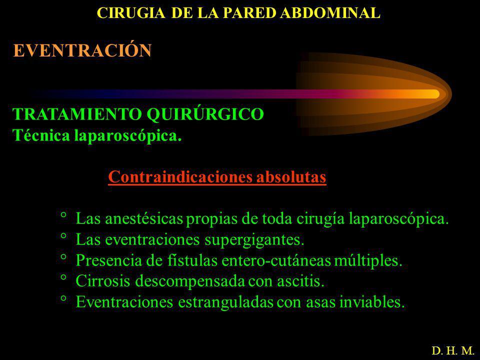 CIRUGIA DE LA PARED ABDOMINAL D. H. M. EVENTRACIÓN TRATAMIENTO QUIRÚRGICO Técnica laparoscópica. Contraindicaciones absolutas ° Las anestésicas propia
