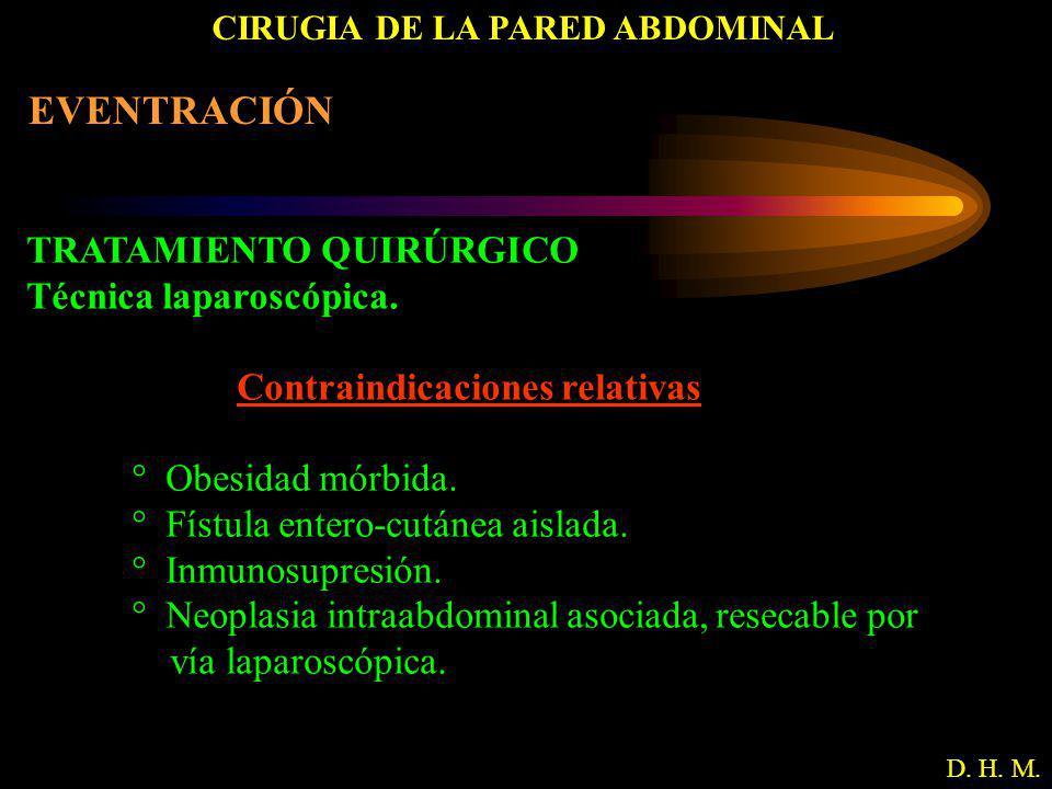 CIRUGIA DE LA PARED ABDOMINAL D. H. M. EVENTRACIÓN TRATAMIENTO QUIRÚRGICO Técnica laparoscópica. Contraindicaciones relativas ° Obesidad mórbida. ° Fí