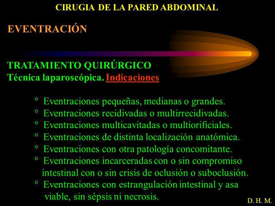 CIRUGIA DE LA PARED ABDOMINAL D. H. M. EVENTRACIÓN TRATAMIENTO QUIRÚRGICO Técnica laparoscópica. Indicaciones ° Eventraciones pequeñas, medianas o gra