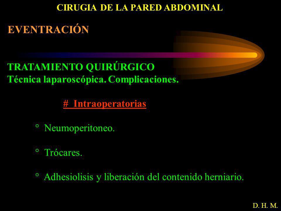 CIRUGIA DE LA PARED ABDOMINAL D. H. M. EVENTRACIÓN TRATAMIENTO QUIRÚRGICO Técnica laparoscópica. Complicaciones. # Intraoperatorias ° Neumoperitoneo.