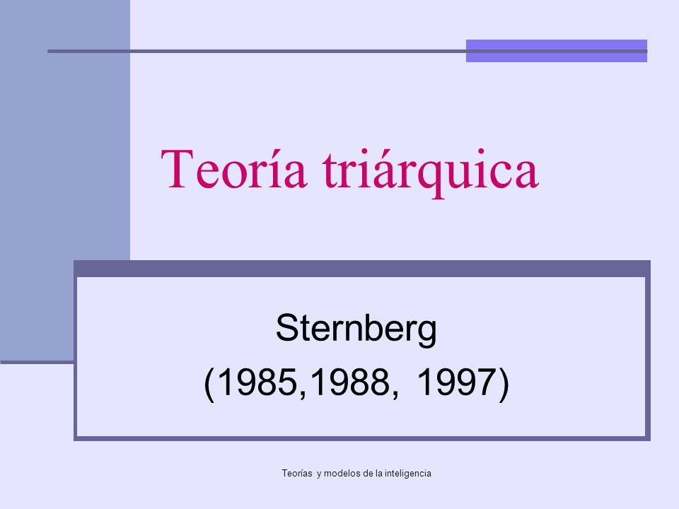 Teorías y modelos de la inteligencia Teoría triárquica Sternberg (1985,1988, 1997)