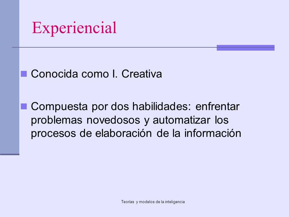 Teorías y modelos de la inteligencia Experiencial Conocida como I. Creativa Compuesta por dos habilidades: enfrentar problemas novedosos y automatizar