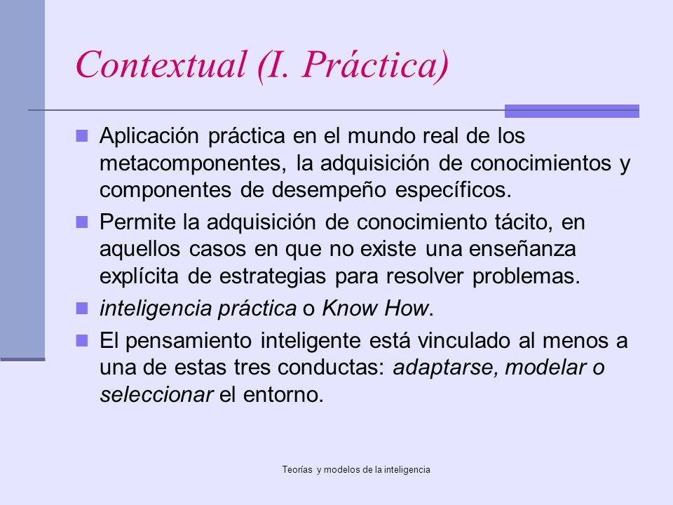 Teorías y modelos de la inteligencia Contextual (I. Práctica) Aplicación práctica en el mundo real de los metacomponentes, la adquisición de conocimie