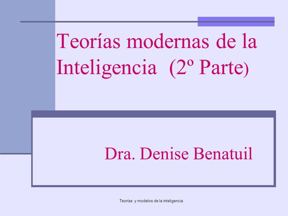 Teorías y modelos de la inteligencia Teorías de la inteligencia Teorías clásicas Teorías modernas Inteligencia Emocional (Mayer & Salovey Goleman; BarOn) Inteligencias múltiples (Gardner) Inteligencia social (Cantor & Kihstrom) Teoría Triárquica (Sternberg)