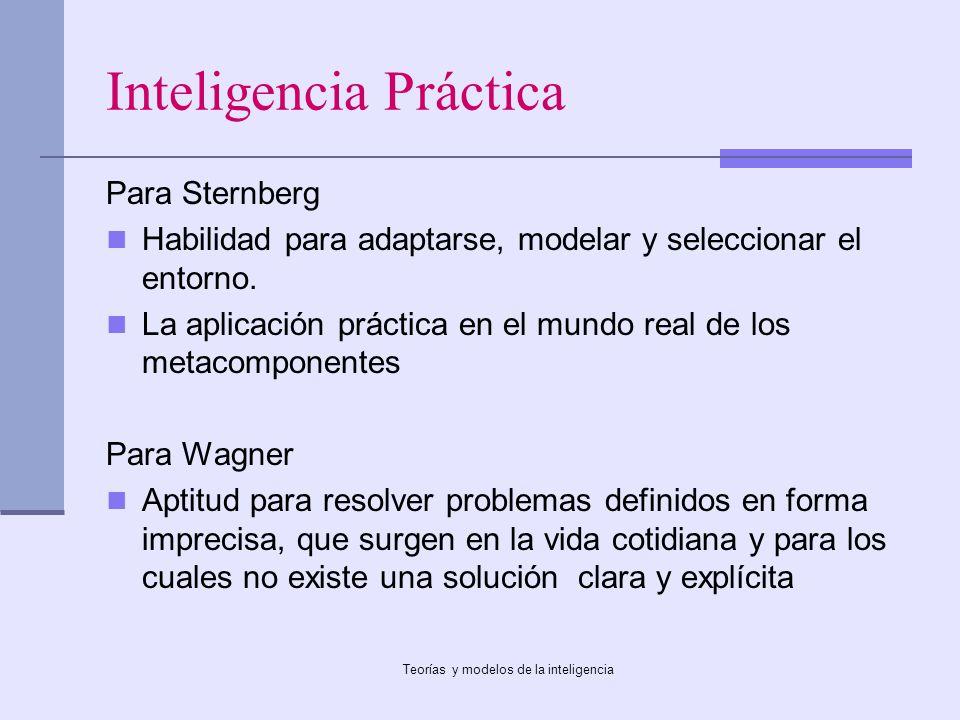 Teorías y modelos de la inteligencia Inteligencia Práctica Para Sternberg Habilidad para adaptarse, modelar y seleccionar el entorno. La aplicación pr