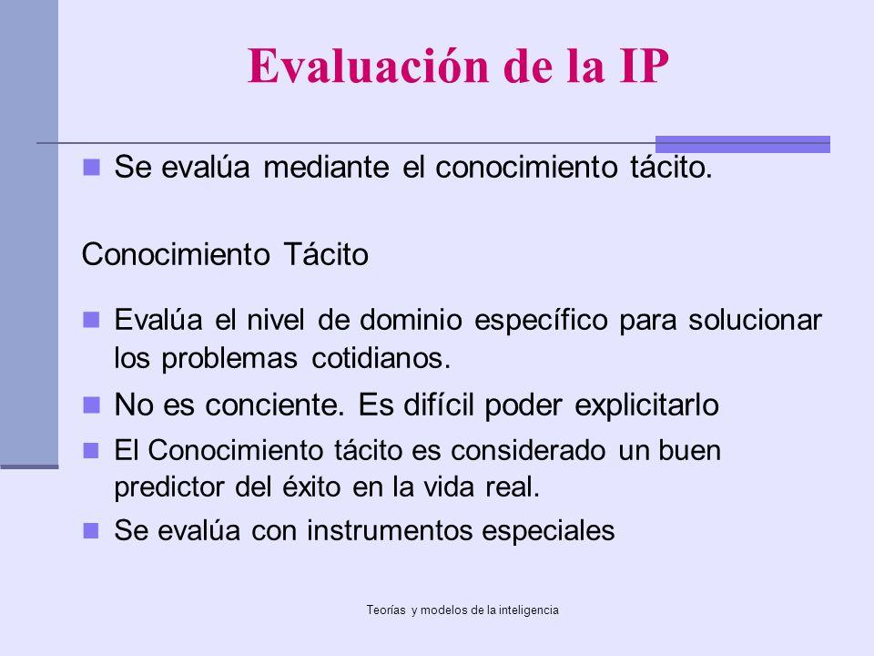 Teorías y modelos de la inteligencia Evaluación de la IP Se evalúa mediante el conocimiento tácito. Conocimiento Tácito Evalúa el nivel de dominio esp