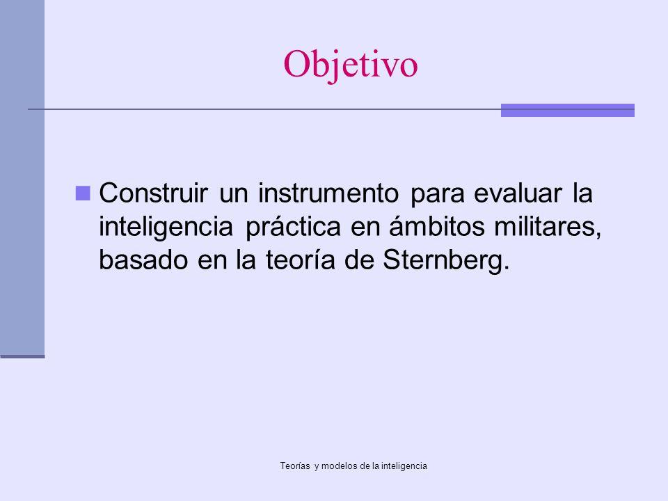 Teorías y modelos de la inteligencia Objetivo Construir un instrumento para evaluar la inteligencia práctica en ámbitos militares, basado en la teoría