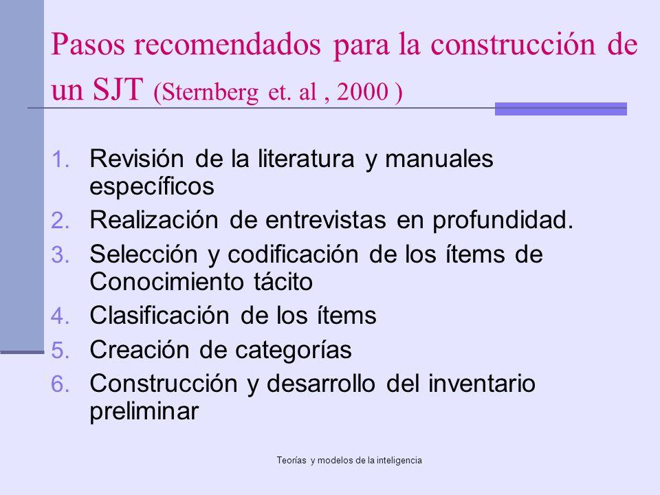 Teorías y modelos de la inteligencia Pasos recomendados para la construcción de un SJT (Sternberg et. al, 2000 ) 1. Revisión de la literatura y manual