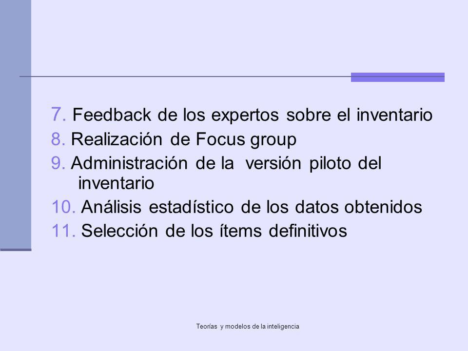 Teorías y modelos de la inteligencia 7. Feedback de los expertos sobre el inventario 8. Realización de Focus group 9. Administración de la versión pil