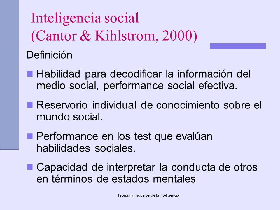 Teorías y modelos de la inteligencia Inteligencia social (Cantor & Kihlstrom, 2000) Definición Habilidad para decodificar la información del medio soc