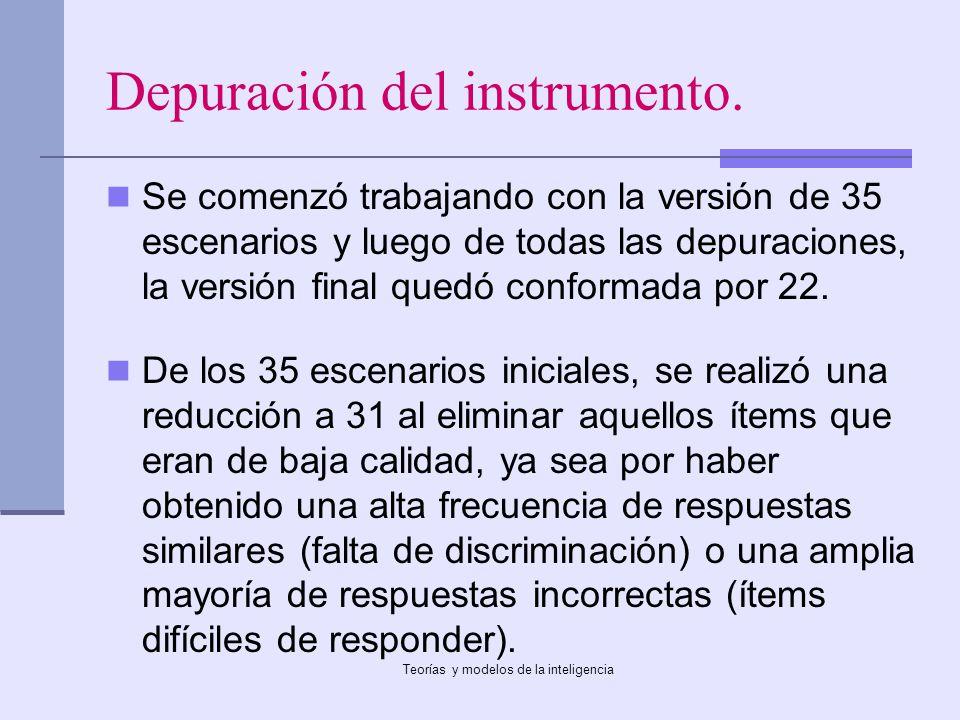Teorías y modelos de la inteligencia Depuración del instrumento. Se comenzó trabajando con la versión de 35 escenarios y luego de todas las depuracion