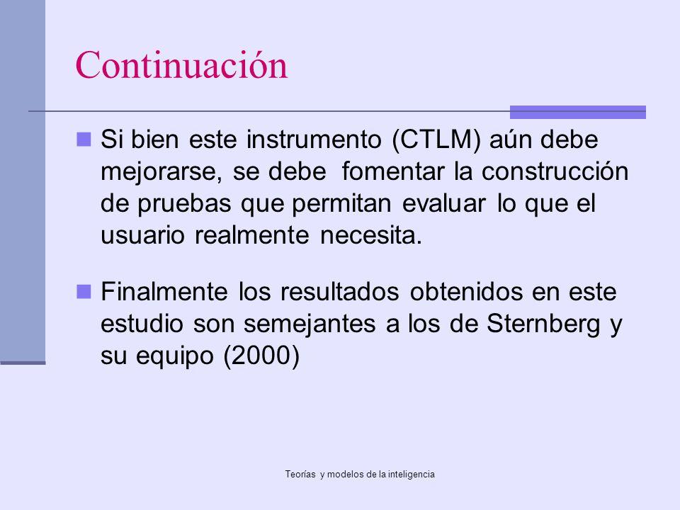 Teorías y modelos de la inteligencia Continuación Si bien este instrumento (CTLM) aún debe mejorarse, se debe fomentar la construcción de pruebas que