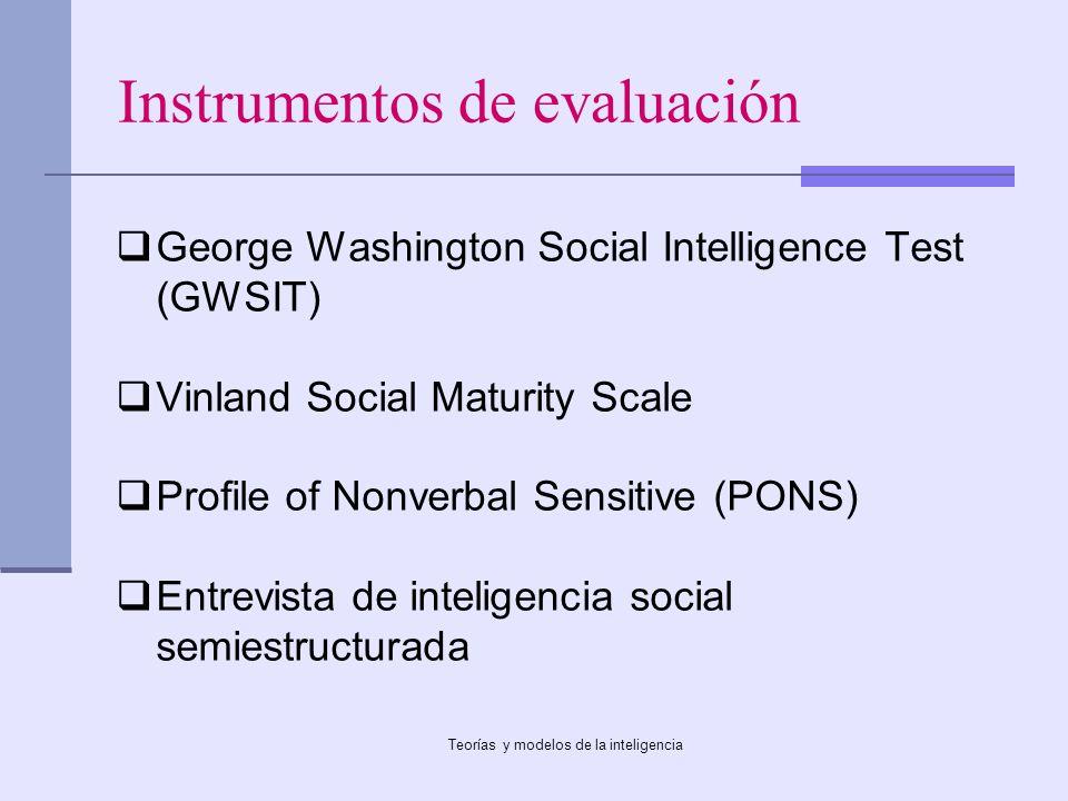 Teorías y modelos de la inteligencia Instrumentos de evaluación George Washington Social Intelligence Test (GWSIT) Vinland Social Maturity Scale Profi