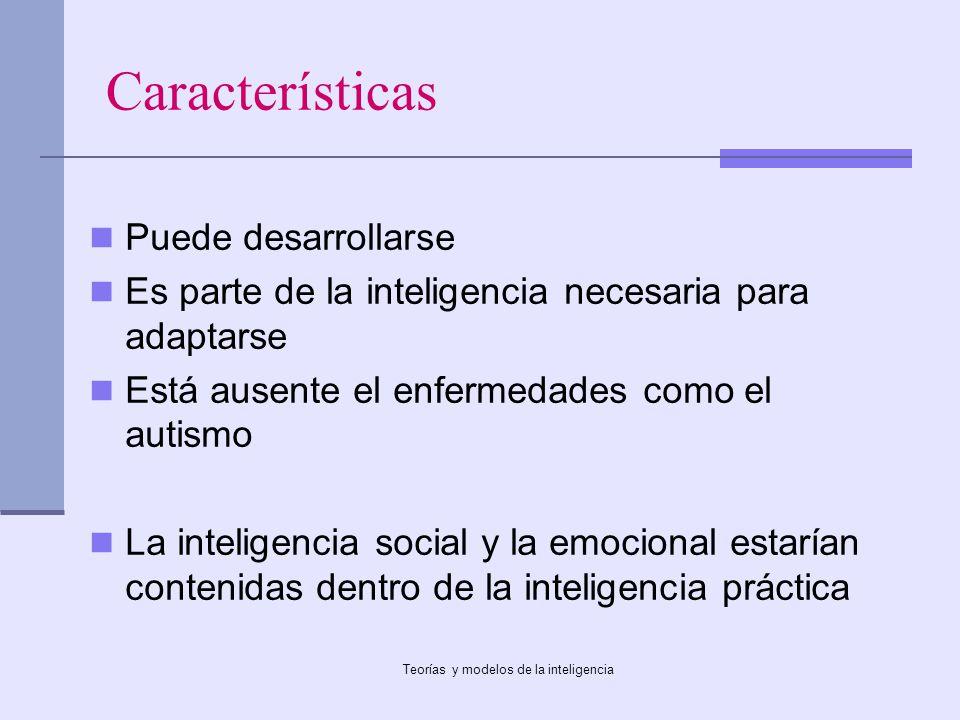 Teorías y modelos de la inteligencia Características Puede desarrollarse Es parte de la inteligencia necesaria para adaptarse Está ausente el enfermed
