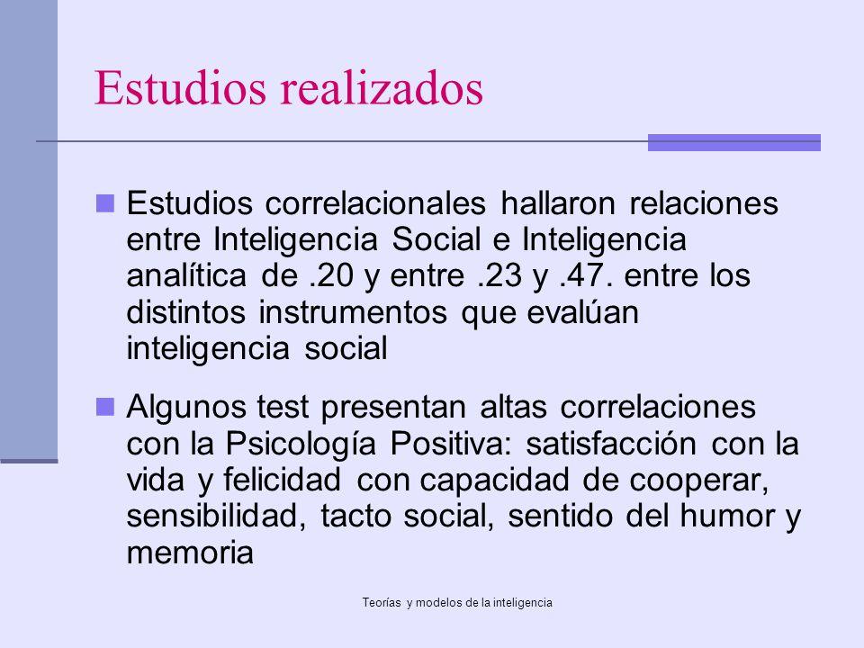 Teorías y modelos de la inteligencia Estudios realizados Estudios correlacionales hallaron relaciones entre Inteligencia Social e Inteligencia analíti