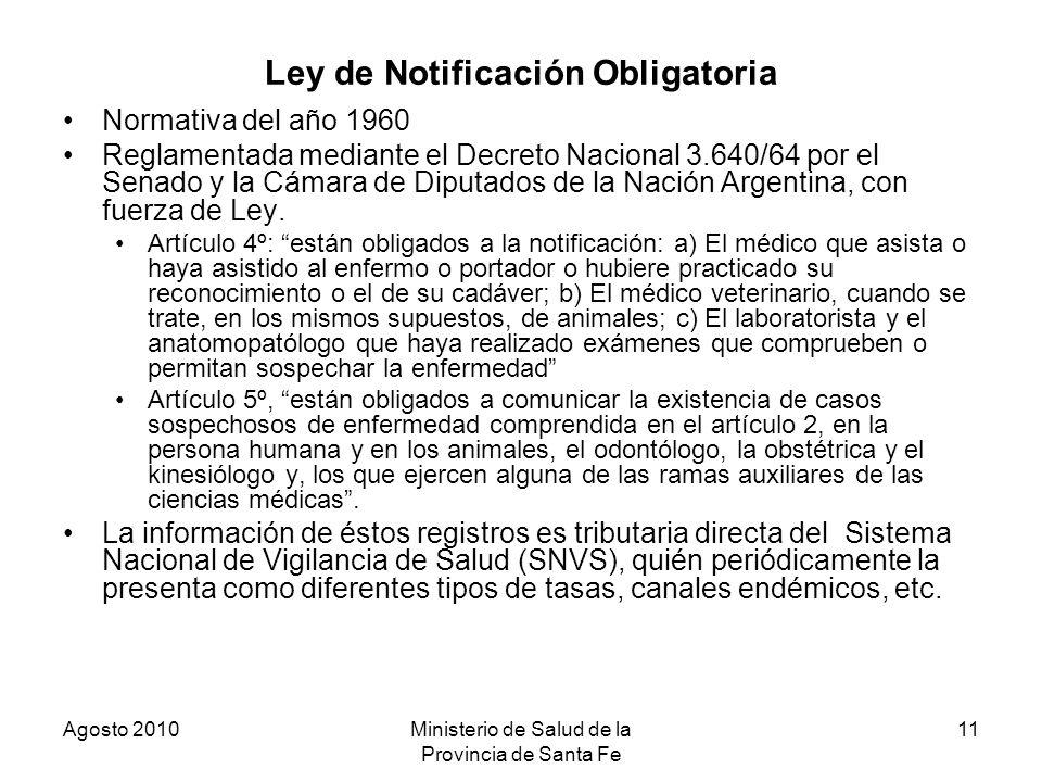 Agosto 2010Ministerio de Salud de la Provincia de Santa Fe 11 Ley de Notificación Obligatoria Normativa del año 1960 Reglamentada mediante el Decreto