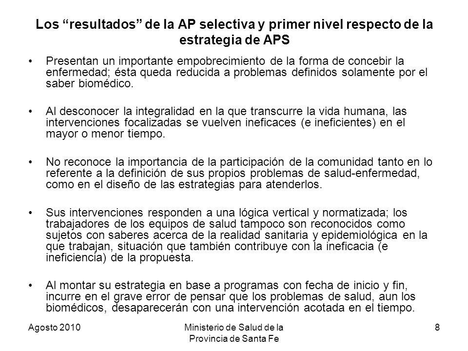 Agosto 2010Ministerio de Salud de la Provincia de Santa Fe 8 Los resultados de la AP selectiva y primer nivel respecto de la estrategia de APS Present