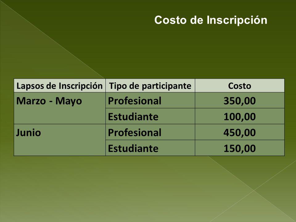 Lapsos de InscripciónTipo de participanteCosto Marzo - MayoProfesional350,00 Estudiante100,00 JunioProfesional450,00 Estudiante150,00 Costo de Inscrip